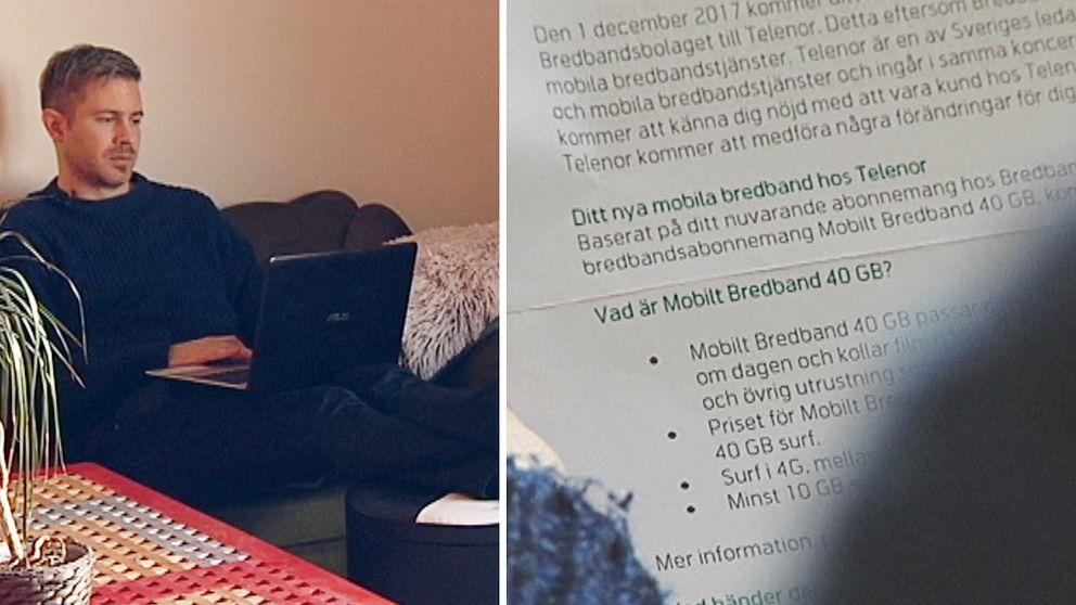 Daniel Larsson Tangfors surfar på nätet och ett brev från Telenor