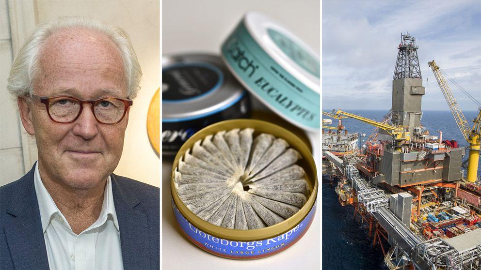 3-delad bild på Lars Heikensten, snusburkar och en oljerigg