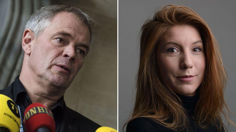 Danska polisinspektören Jens Möller och en bild på Kim Wall