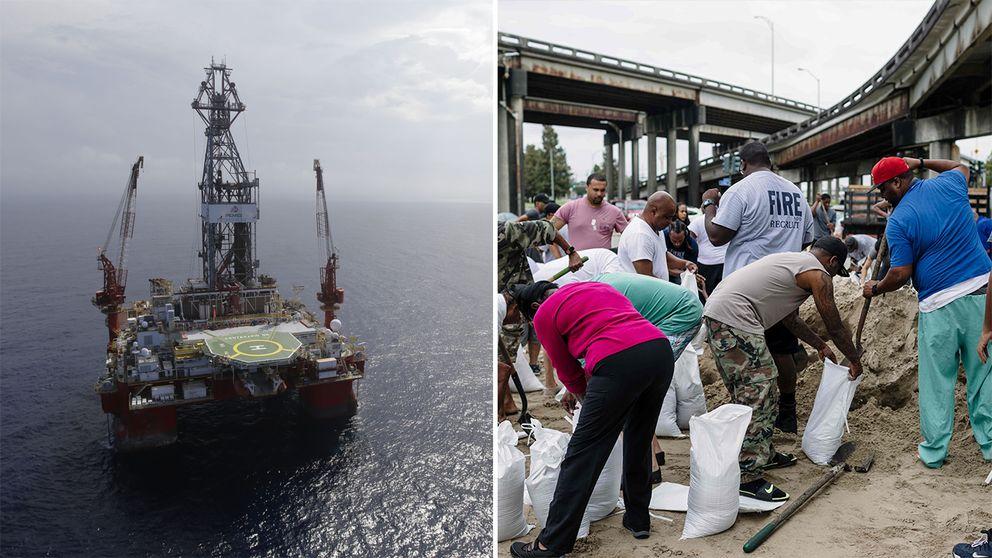 Oljeplattformar i Mexikanska golfen evakueras. I New Orleans förbereder sig människor på stormen Nate med jordfyllda säckar.