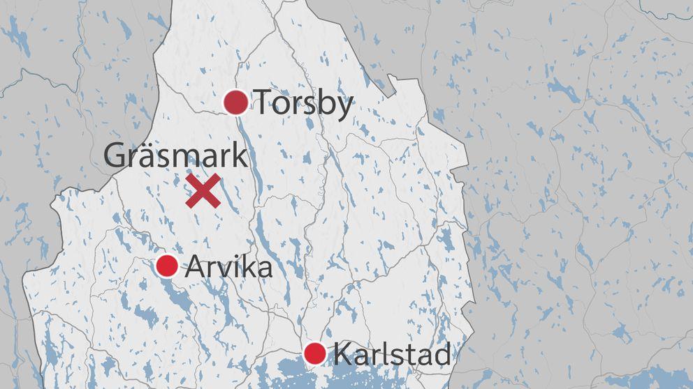Karta med området Gräsmark utmärkt i Värmlands län.