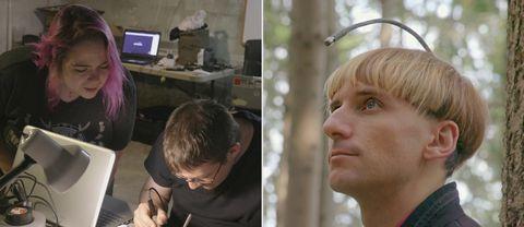 Till vänster: Kroppshackargruppen GrindhouseWetware. Till höger: Neil Harbisson från Spanien är färgblind. Den implanterade antennen omvandlar färger till ljud.