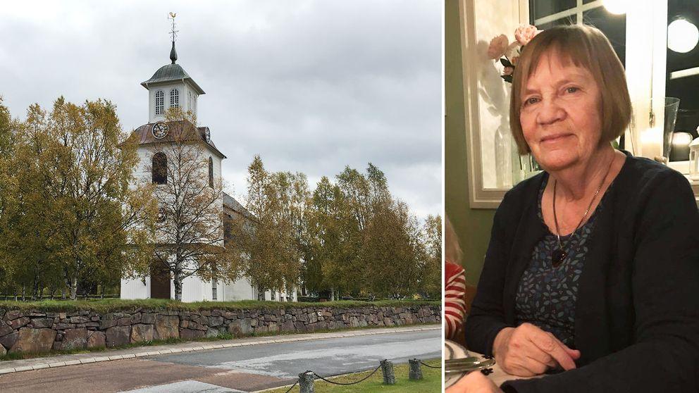 vy över kyrkan, en äldre kvinna