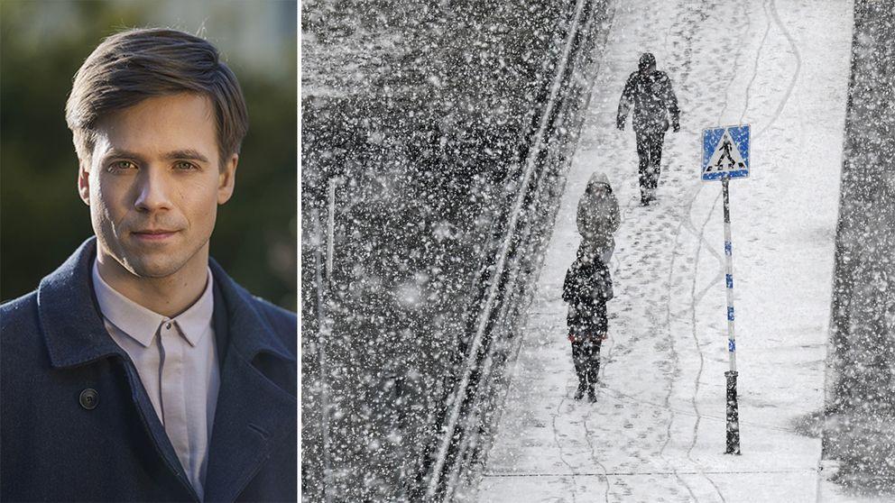 Till vänster Nils Homqvist. Till höger en akrivbild från ett snöoväder.