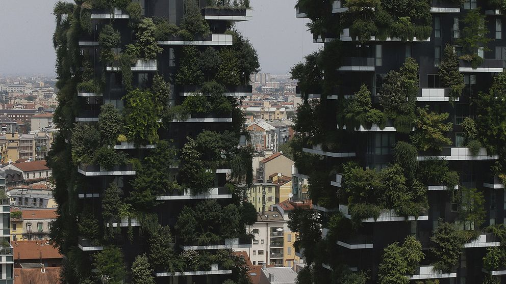 The twin towers of the 'Bosco Verticale' (Vertical Forest) residential buildings at the Porta Nuova district, frame a view of Milan, Italy, Thursday, Aug. 3, 2017. Designed by the Boeri studio, it was named Äú2015 Best Tall Building WorldwideÄù by th Council on Tall Buildings and Urban Habitat. (AP Photo/Luca Bruno)