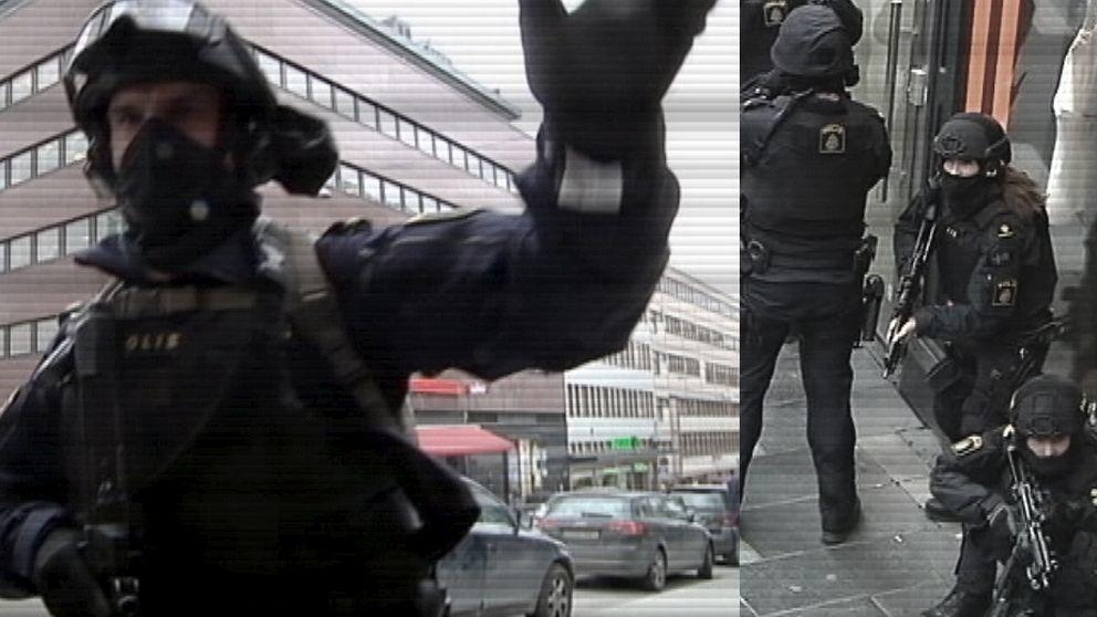 """""""För er egen säkerhet, spring fort som fan!"""", skriker den tungt beväpnade polisen till åskadare vid attentatsplatsen. Hela centrala Stockholm fylldes snabbt av insatsberedd polis."""
