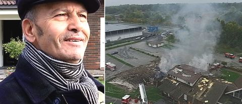 Hassan Mountagui, vice ordförande för islamiska kulturcentret i Örebro. Till höger en bild från branden i Örebro moské i ett montage.