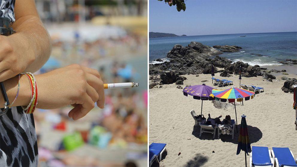 Till vänster en person som håller en cigarett i handen. I bakgrunden ses en strand. Till höger solstolar och parasoll på Patong beach.