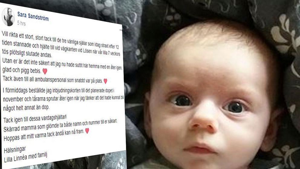 Räddningsinstasen för att få liv i lilla Linnéa väckte stor uppmärksamhet på sociala medier där mamma Sara Sandström berättade om dramat som fick ett lyckligt slut