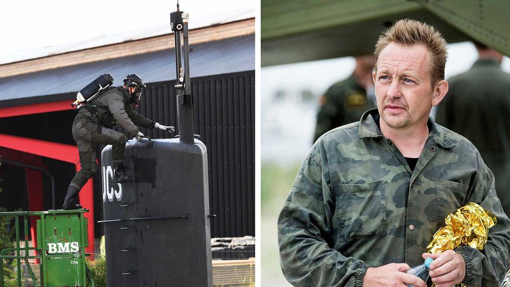 Polisens tekniker undersöker ubåten. Peter Madsen i militärskjorta.