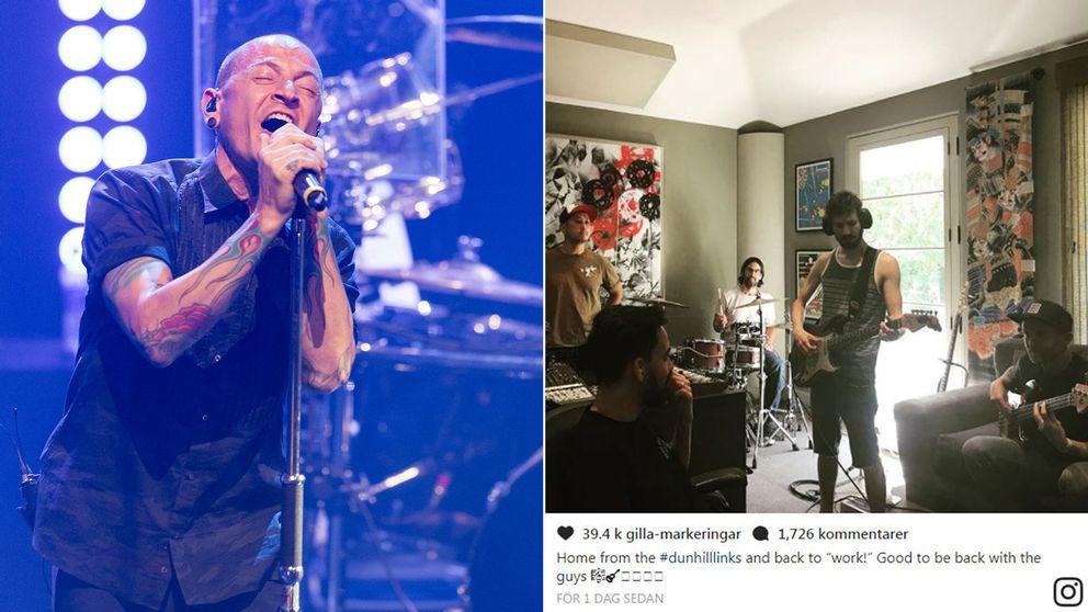 Basisten Dave Farell la upp en bild på instagram där Linkin Park ses repa inför hyllningskonsert till Chester Benningtons minne.