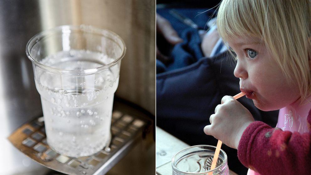 Plastmugg och barn med plastsugrör