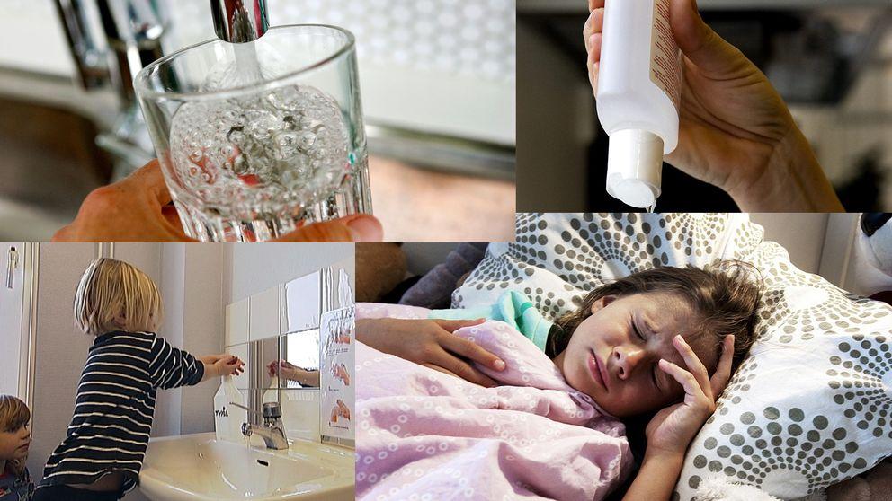 Fyra bilder med: vattenglas, handsprit, ett barn som tvättar händer, en person som ligger sjuk i sängen.