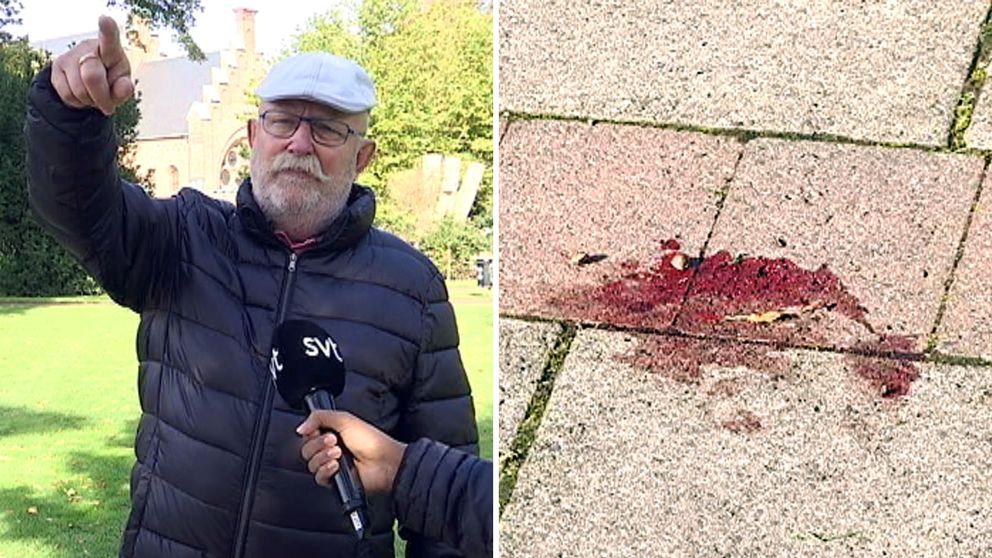 Olle Friberg berättar hur han hamnade mitt i händelserna och såg flera skadade människor ligga på gräsmattan.