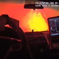 Polisen i Sonoma i Kalifornien kör rätt genom brandinfernot