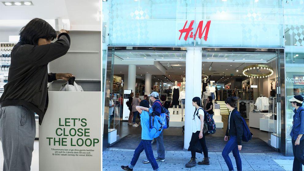 En kvinna som återvinner kläder och en H&M-butik.