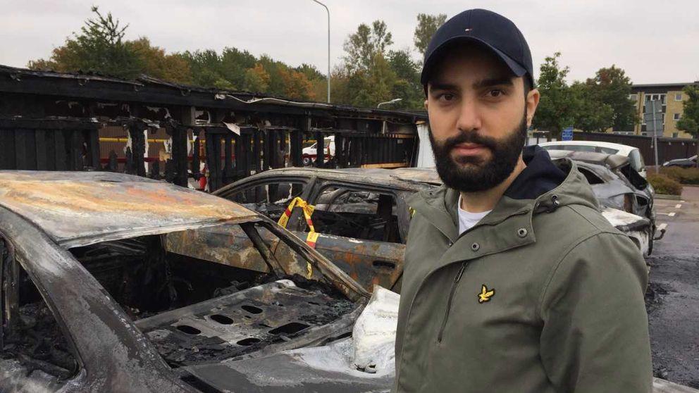 Mohammed Issa, en av bilägarna som fick sin bil totalförstörd.