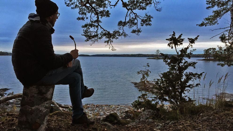Man sitter på stubbe och blickar mot en solnedgång