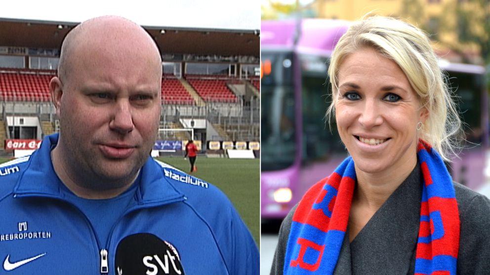 KIF örebros före detta huvudtränare Martin Skogman och nya huvudtränaren Elin Magnusson.