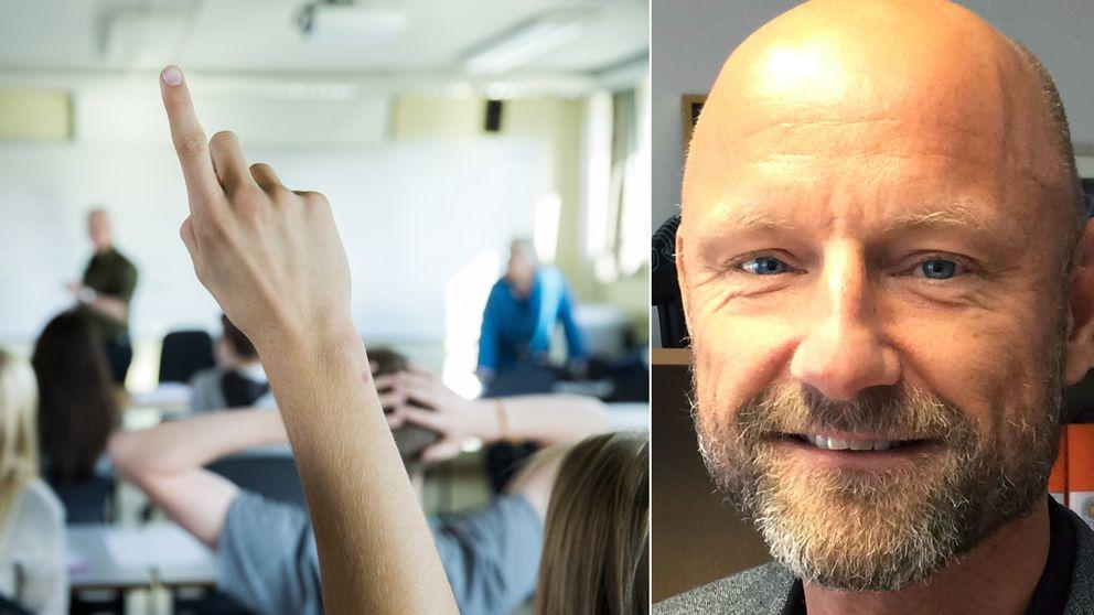 En bild på en elev som räcker upp handen och Mats Olsson, rektor Lillåns skola, i ett montage.