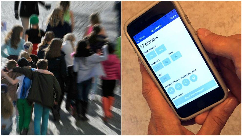 Två. barn i grupp och bild på mobiltelefon