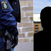 Polislogga på en arm och en bild på en silhuett i ett montage.