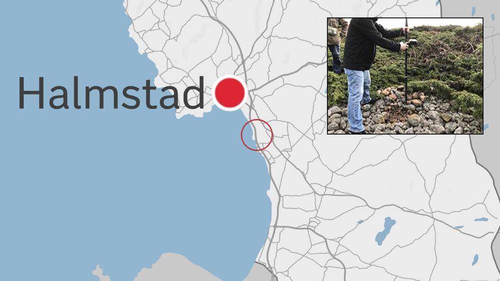 Karta där Halmstad och Påarps gravfält är utmärkt. Infälld bild på graffältet.