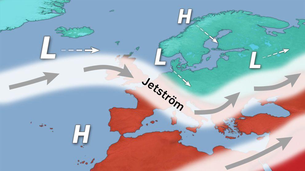 Jetströmmarnas läge över Europa kommande dagar