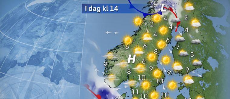 Det blir en solig torsdag i stora delar av landet tack vare ett högtryck. Sydligaste Götaland och delar av västkusten får mer moln och även lite regn. Allra längst i norr en del moln och fortsatt tidvis snöfall.