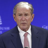 """Förre presidenten George W Bush i ett takl: """"Vi kan inte önska bort globaliseringen"""""""