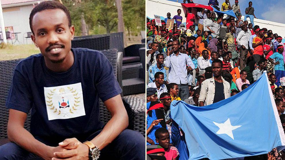 Warsame Laurent från Oskarshamn anordnar en minnesstund för att hedra offren i terrordådet i Mogadishu. På högra bilden protester i Somalia efter dådet som skördade över 300 människoliv.