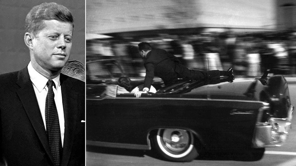 John F. Kennedy till vänster. Bild från omedelbart efter skotten i Dallas till höger.