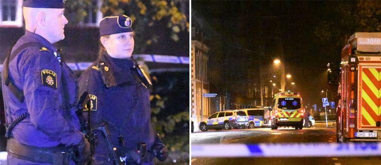 Stora delar av centrala Ängelholm spärrades av natten till söndag. Tungt beväpnade poliser fanns på platsen.