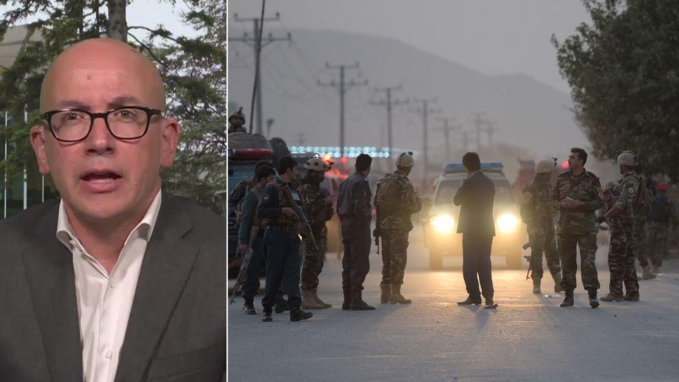 ICRC:s generaldirektör Yves Daccord och en bild på säkerhetspådrag efter en explosion i Kabul.