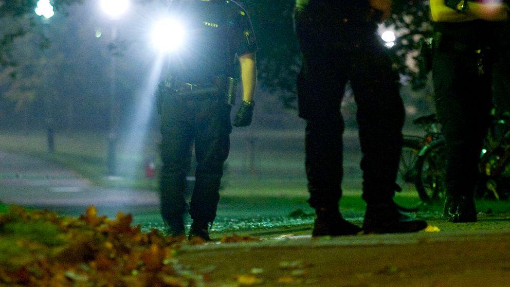 Poliser med ficklampa söker under natten