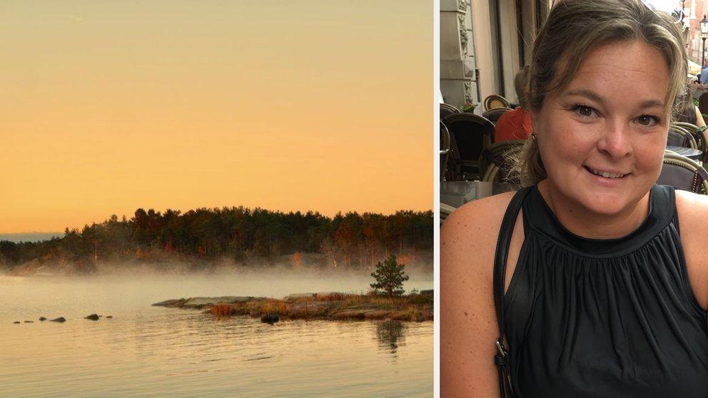 Bild på soluppgång och på Sara Linder