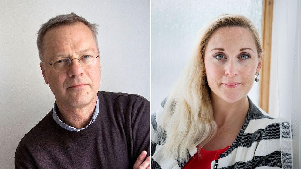 Förläggaren Svante Weyler och författaren Lisa Bjurwald.