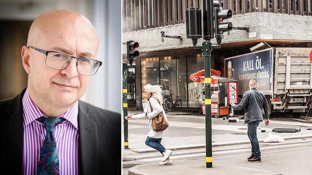 Josef Bigun, professor i signalanalys vid Högskolan i Halmstad, föreläser om hur man kan hindra kapningar av lastbilar.