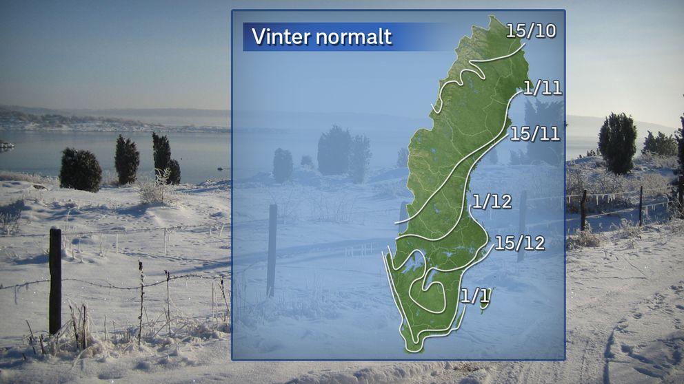 Normalt datum för den meteorologiska vintern baserat på referensåren 1961–1990.