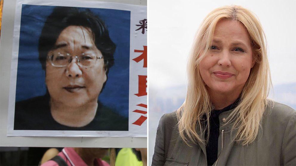 Till vänster ett plakat med bild av Gui Minhai. Till höger Susan Ritzén.