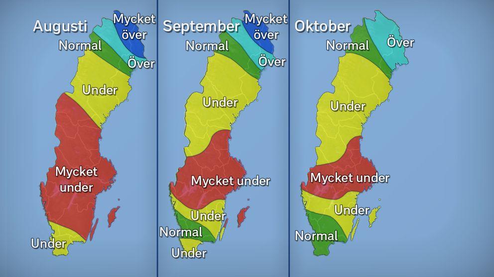 Grundvattennivåer i stora magasin under månaderna augusti, september och oktober 2017 jämfört med det normala.