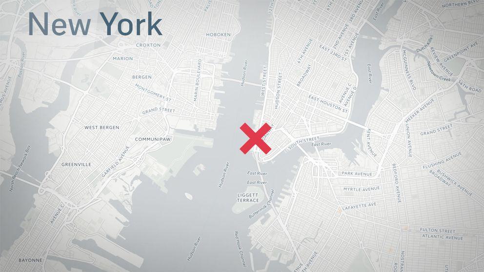 Här på nedre Manhattan i centrala New York City ska våldsdådet ha ägt rum.