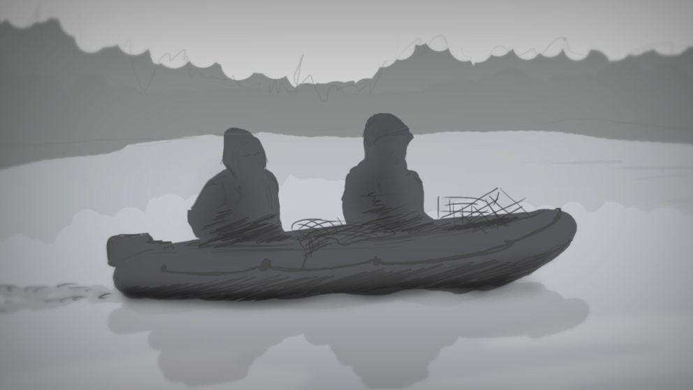 En tecknad bild med två personer i en båt som fiskar.
