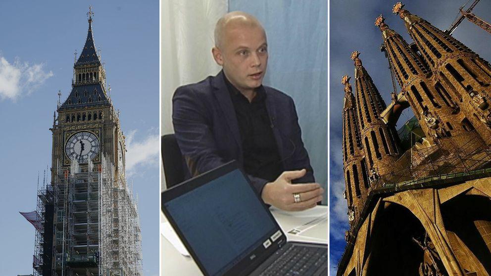 En collage av bilder på Nisse Waldefeldt, Big Ben och Sagrada familia.