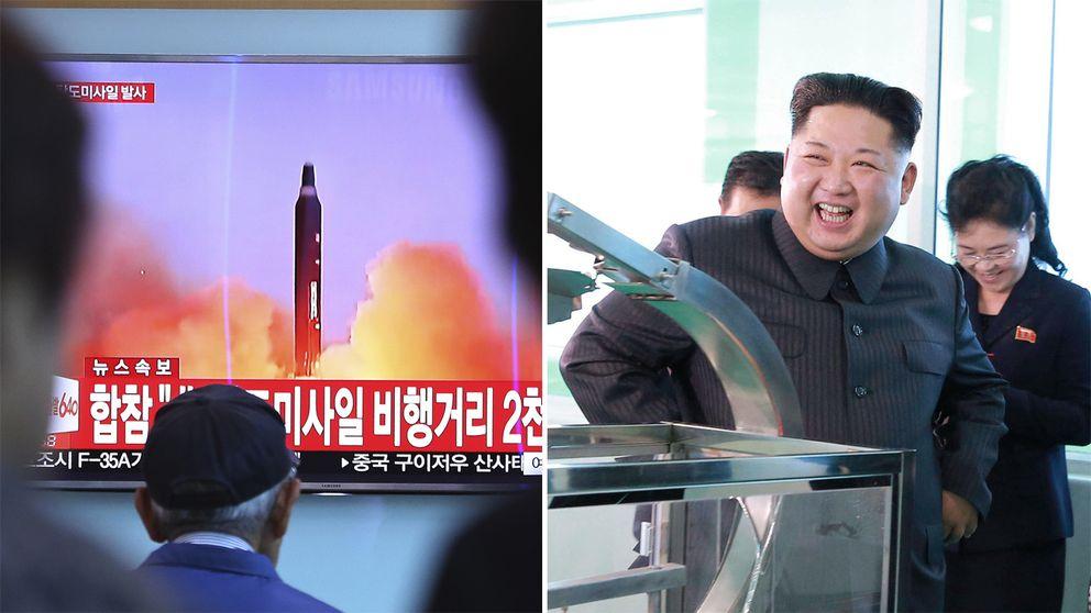 Arkivbilder på en robot, uppskjuten av Nordkorea, och landets ledare Kim Jong-Un.