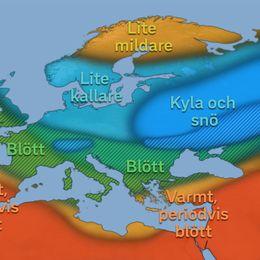 """Schematisk bild över hur vädret kan komma att upplevas över Europa vintern 2017-2018. Bedömningen förhåller sig till vad som är klimatologiskt """"normalt"""" i respektive område."""
