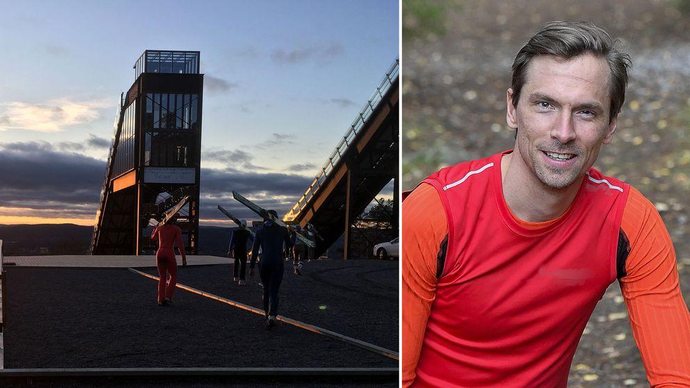 backhoppare bär skidor till tornet, porträtt en man i träningskläder