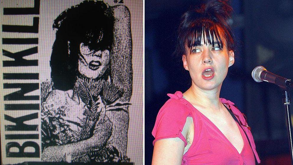 En delad bild, på en affisch med bandet och även en bild på sångerskan Kathleen Hanna på scen.