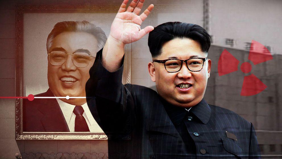 Montage: Kim Jong Un vinkar. Norkoreanskt kärnkraftverk i bakgrunden.