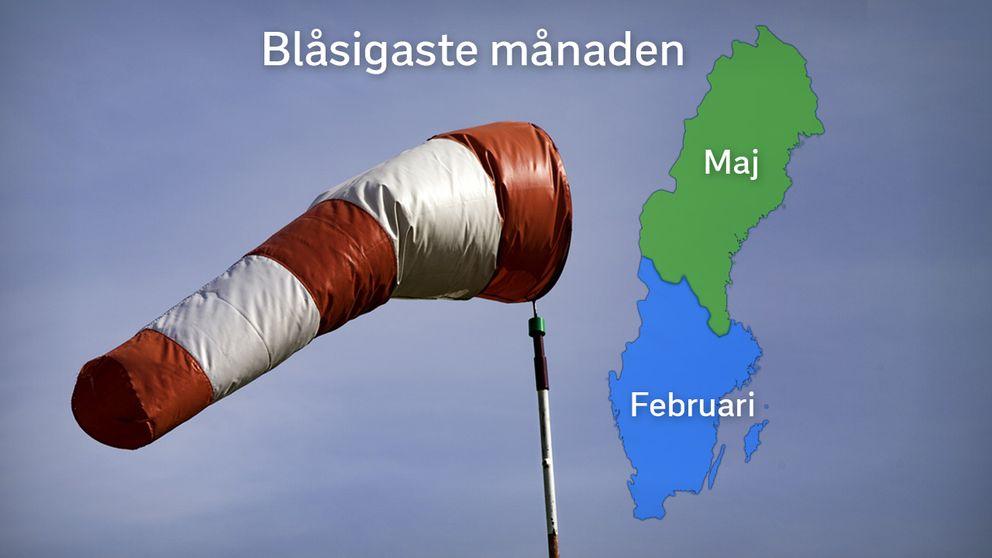 Kartan visa blåsigaste månaden under året.